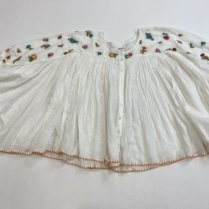 JOHNNY WAS White Gauze Circle Top Size S/M NWOT